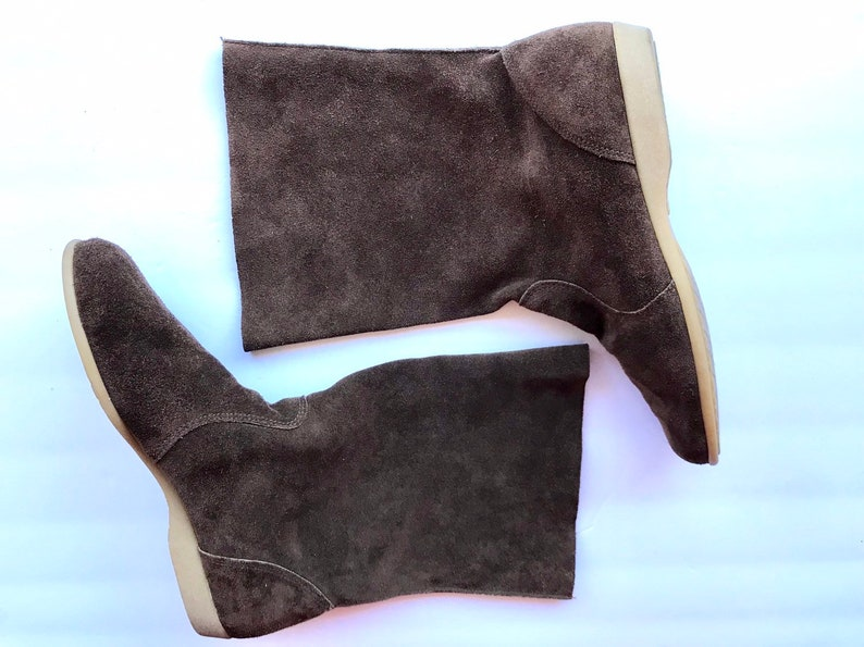 210216861baf6 80's Brown Suede Boho Flat Boots, Tall Ankle Leather Booties, Punk New Wave  Vintage Union Made Cut Off Boots