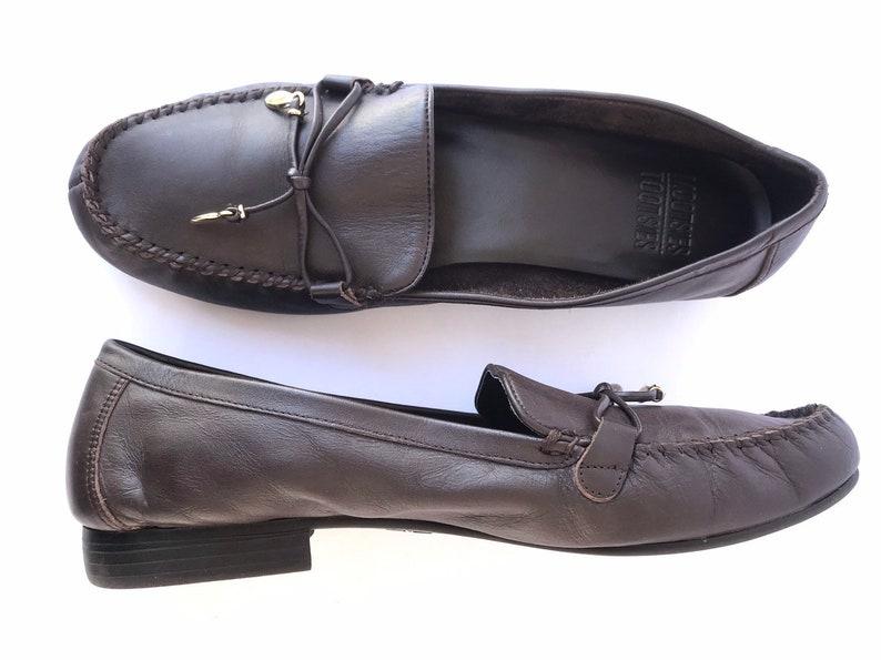 319826ef1b1b6 90s Dark Brown Leather Mocassins, Decorative Gold Tassels, Mootsie Tootsie  Preppy Minimalist Slip Ons, Flat Leather Loafer Shoes Woman's 9