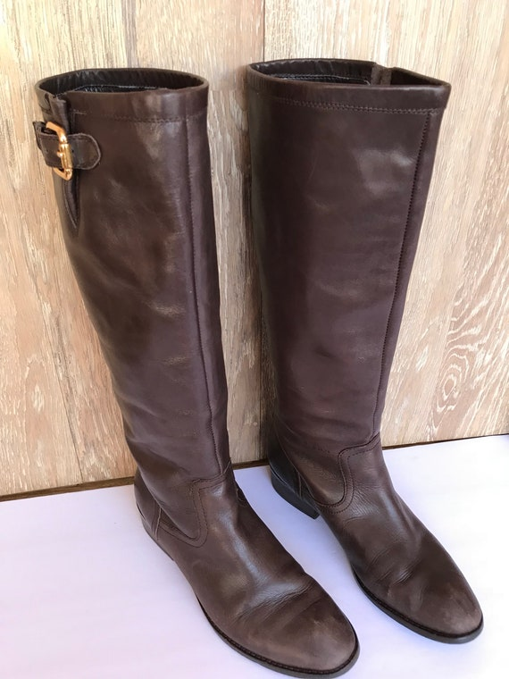 49f564024f22e 90s Ralph Lauren Riding Boots, Knee High Chocolate Brown Distressed  Leather, Campus Leather Motorcycle Biker Chick Boots, Designer Size 8