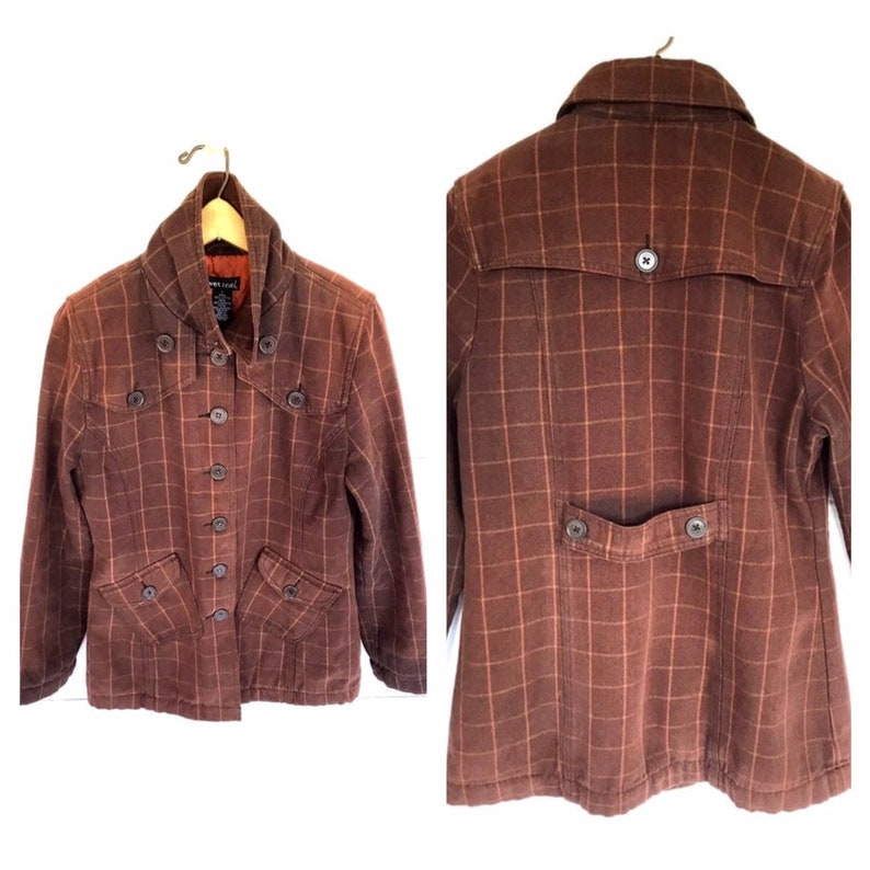 Vintage Preppy School Girl Parka Detective Women/'s Size Med Large by Wet Seal Pecan Brown Cotton Striped Peacoat Jacket