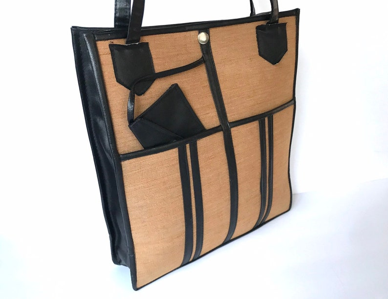 70s Flat Large Dark Beige Textile Black Vinyl Shoulder Bag, Expandable Faux  Chocolate Brown Leather Trim Utility Tote, Punk Grunge Vintage