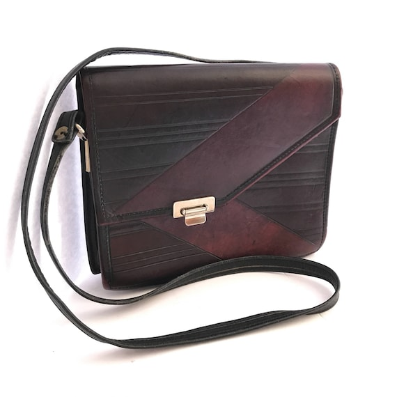 many choices of first rate world-wide free shipping Vintage Cross Body Geo Square Saddle Bag, Hard Leather Messenger Oxblood  and Black Leather with Chevron Pattern Deco, All Leather Lining
