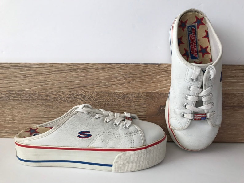 90s White Leather Platform Patriotic Sport Shoes, Red White Blue Stripes, Backless Tennies, Rhinestone Flag Deco Woman's Size 8 Skechers