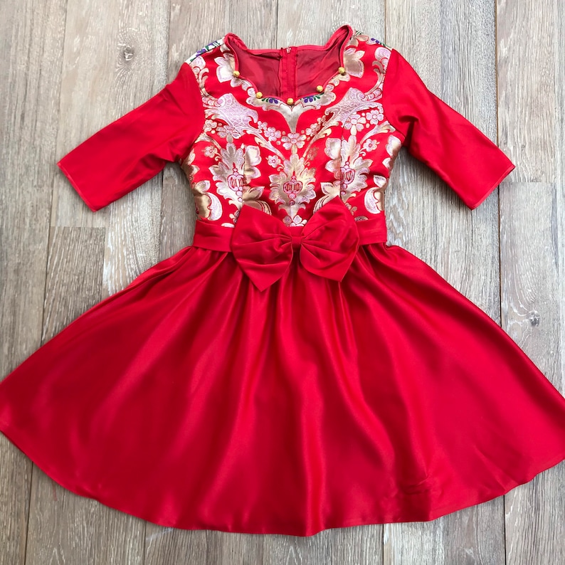 Asian Style Costume Dress Knee Length Elbow Length Woman\u2019s Size 56 Handmade Vintage Gold Brocade Red Dress with Fancy Huge Bow