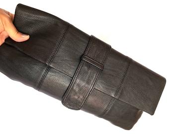 Messenger Clutch Black Pig Leather, Poppie Jones Black Leather and Lining Clutch Messenger Style, Minimslist Boho Blsck Leather Clutch
