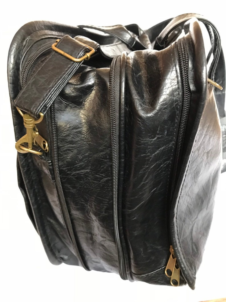 Black Shiny Embossed Vinyl Brief Case Lawyer Bag Vintage Faux Leather Business Bag File Document Organizer