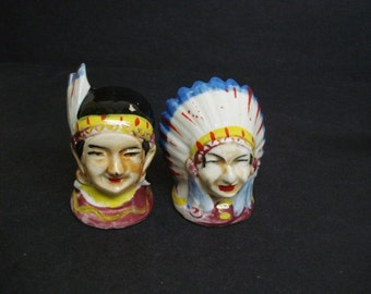 Unique Salt Pepper Shakers - North American Native Indian Chief and wife - Full Hairdress