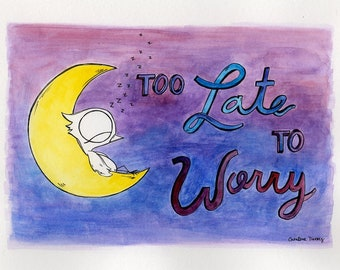 Too Late To Worry - Dream Bird Painting - 8x10 - Watercolor and Pen Ink Illustration - Framed