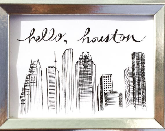 Houston Skyline Drawing - Hello Houston, Magnet, Framed Art, Mini Frame, Downtown Houston Illustration