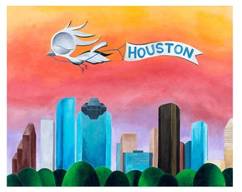 Houston Skyline - Dream Bird Art Print - 8x10, 11x14, 16x20