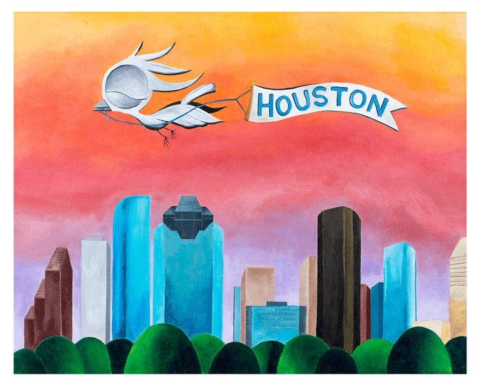 Featured listing image: Houston Skyline - Dream Bird Art Print - 8x10, 11x14, 16x20