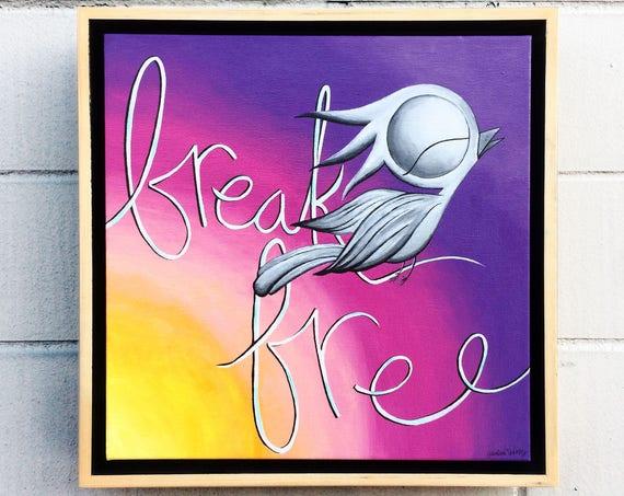 Dream Bird Inspirational Acrylic Painting - Break Free, 12x16, Original Acrylic on Canvas, Framed Wall Art
