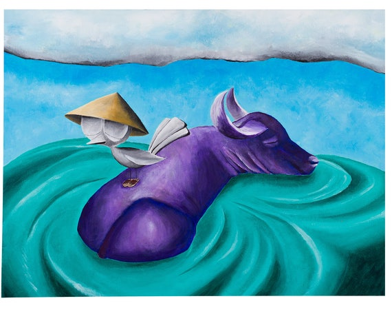 Inspirational Art Print - Bird with Water Buffalo, Dream Bird Art, 8x10, 11x14, 16x20 Giclee Print, Limited Edition