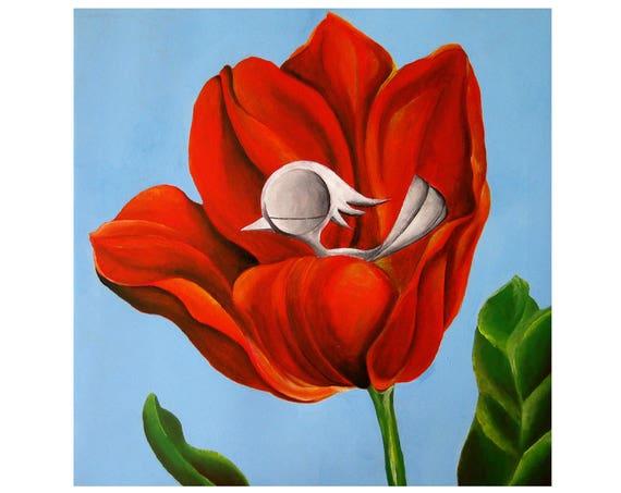 Inspirational Art Print - Bird in a Flower, Dream Bird Art, 15x15 Giclee Print, Limited Edition, Square Art Print