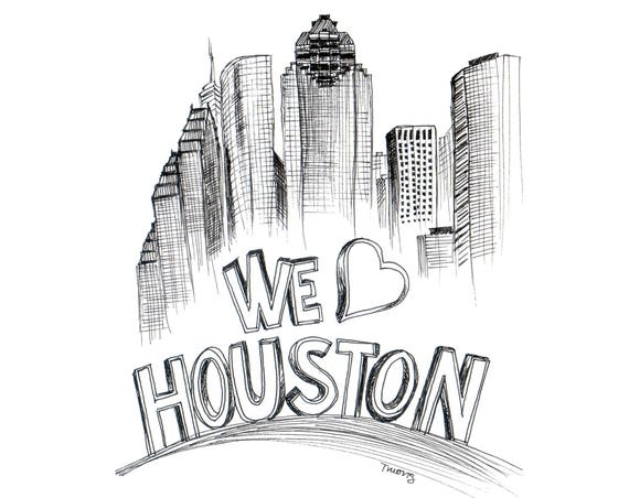 Houston Skyline Drawing - 8x10, We Heart Houston, Downtown Houston Art Illustration, Black Line Drawing