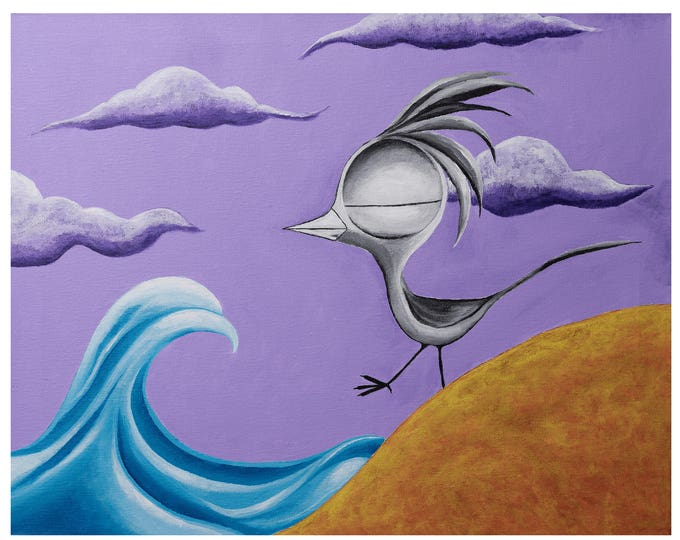 Featured listing image: Bird on a Beach - Dream Bird Art Print - 8x10, 11x14, 16x20