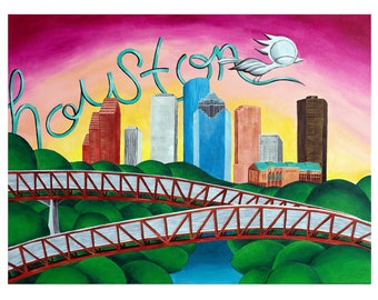 Houston Skyline & Rosemont Bridge - Dream Bird Art Print - 8x10, 11x14, 16x20