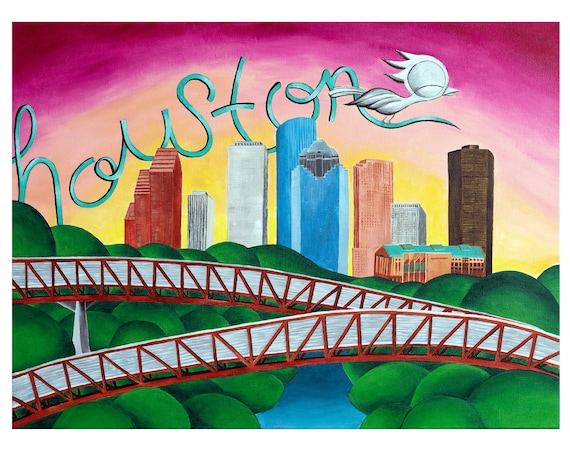 Houston Art Print - Dream Bird Art, Downtown Houston Skyline and Rosemont Bridge, 8x10, 11x14, 16x20 Giclee Print, Limited Edition
