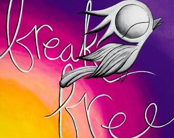 Break Free - Dream Bird Art Print - 8x8, 12x12, 18x18