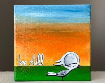 Be Still - Dream Bird Painting - 5x5 - Acrylic On Canvas