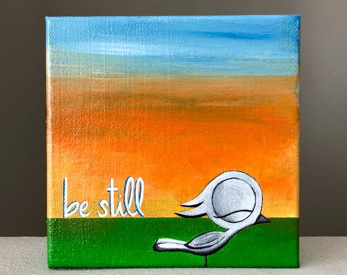 Featured listing image: Be Still - Dream Bird Painting - 5x5 - Acrylic On Canvas