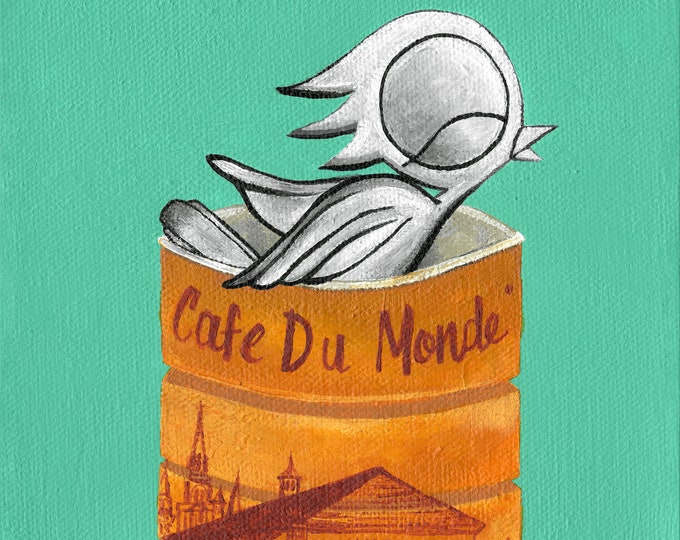 Featured listing image: Cafe Du Monde - Dream Bird Art Print - 8x8, 12x12, 18x18