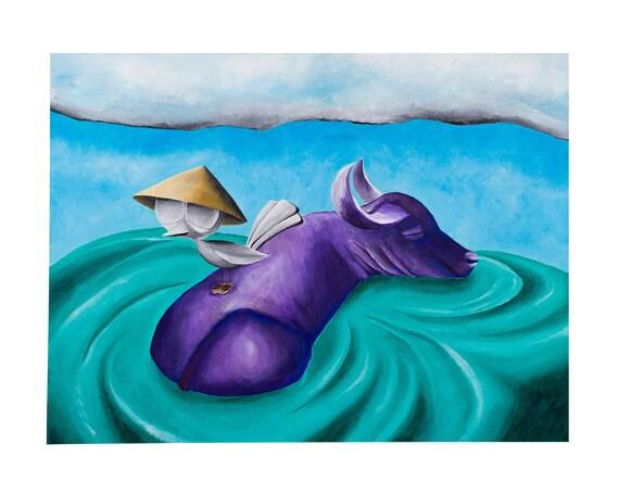 Inspirational Art Print - Bird with Water Buffalo, Dream Bird Art, 8x10, 11x14, 16x20 Giclee Print, Limited Edition