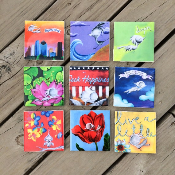 Coasters - Set of 4 Coasters, Dream Bird Art, Mix and Match, Ceramic Tile Coasters, Inspirational Art Coasters