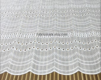 White Black Cotton Lace Fabric,  Embroidery Eyelet Waves Cotton for Dress Curtain Fabric- 1/2 Yard Lace