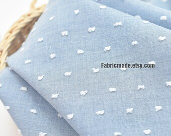 f5fd1e163ce Light Blue Cotton Fabric With White Jacquard Dots - 1/2 Yard