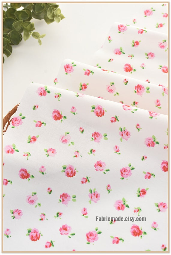 Pink /& Cream Shabby Chick Fabric Cream and Pink Small Floral Print Quilting Cotton Fabric BTY t12