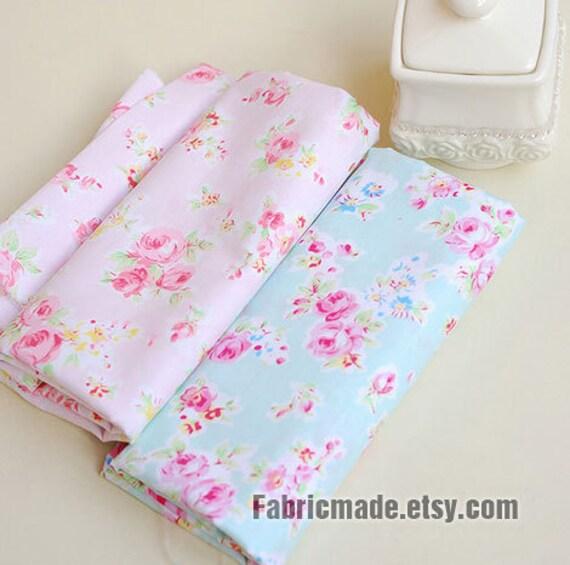 sale aqua blue fabric pink flower fabric shabby chic flower rh etsy com