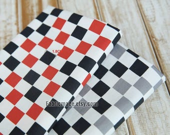 Racing Plaid Cotton Fabric White Red Black Grey Check Cotton - 1/2 yard