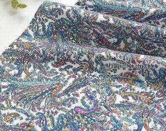 Pink Blue Phoenix Paisley Flower Cotton Fabric - 1/2 yard