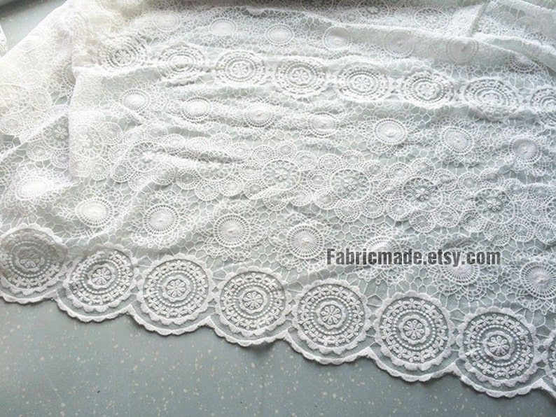 Japanese Ivory Cream White Lace Fabric Vintage Style Circle Lace Tulle Embroidered Lace Bridal Lace Fabric Curtain Scarf Fabric 12 yard