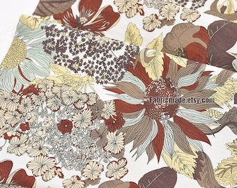 Large Brown Sunflower Cotton Fabric Quilting Dress Fabric 1/2 yard