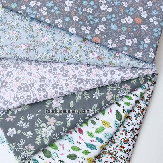 Tiny Grey Gray Floral Cotton Fabric Clothing Quilting Cotton 1 2 Yard