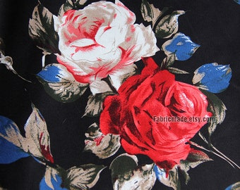 Shabby White Red Rose Flower Cotton Fabric/ Red Rose On Black Cotton For Dress Skirt -1/2 yard