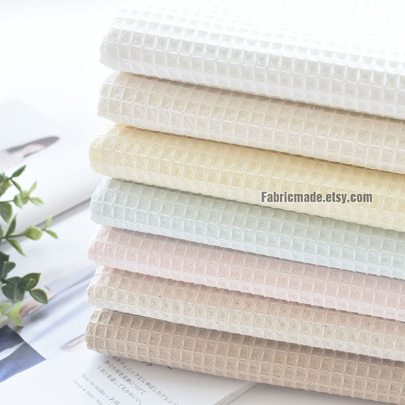 WAFFLE Cotton Fabric Waffle Weave In Pale Blue Pink Beige image 0