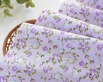 Soft Lilac Floral Cotton Fabric Purple Mauve Flower Cotton- 1/2 yard