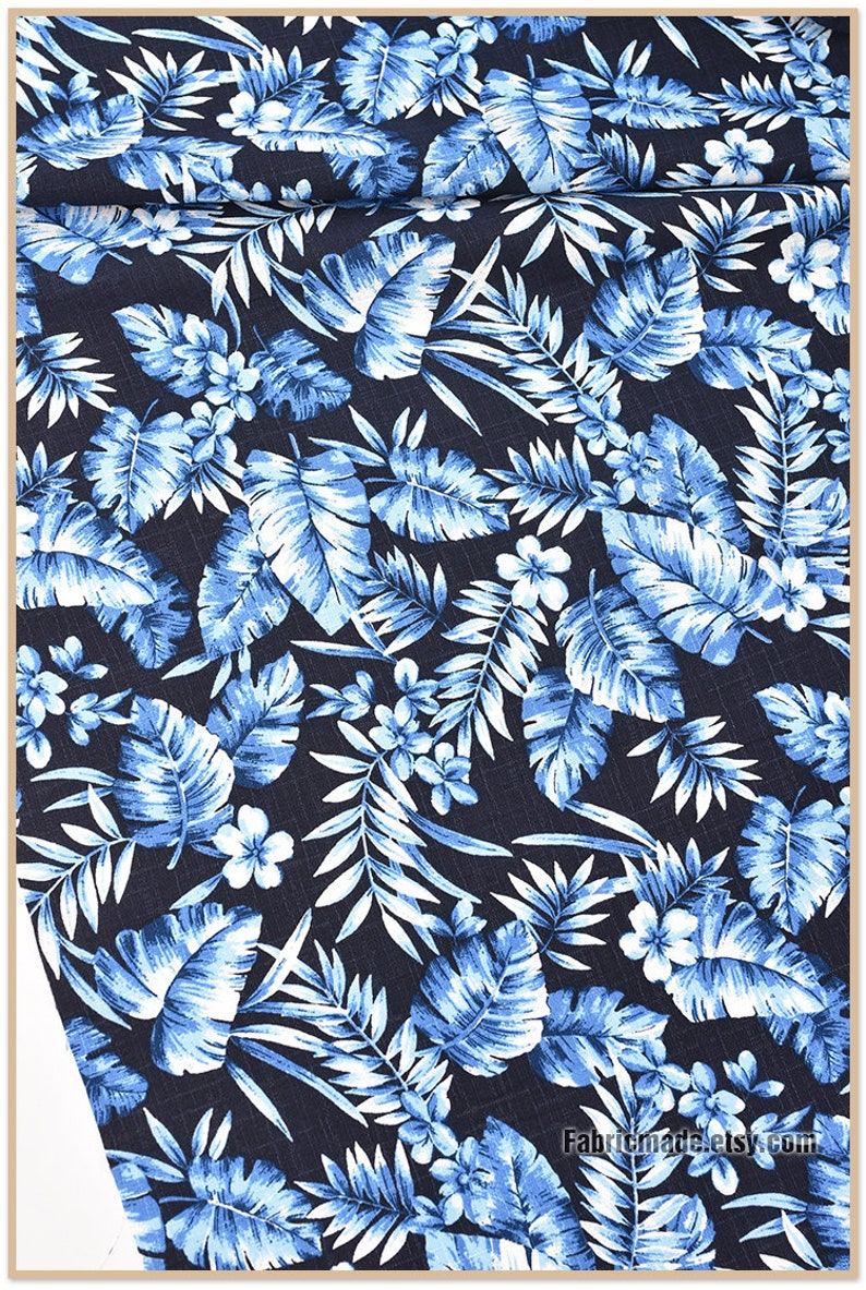 Palm Leaf Cotton Fabric In Blue Grey Floral Bamboo Joint image 0
