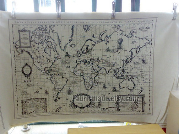 Off white cotton linen fabric vintage world map fabric curtain gumiabroncs Gallery