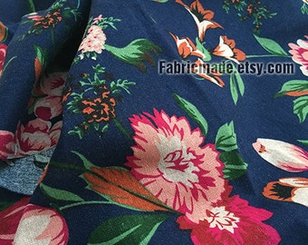 Large Cabbage Rose Floral Fabric, Rosy Flower on Navy Blue Linen Cotton Vintage Style-  1/2 yard
