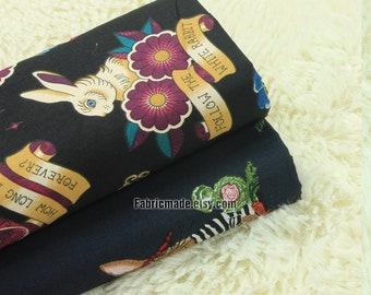 Cartoon Rabbit Cotton Fabric On Black Deep Blue For Kids Clothing Quilting Craft- 1/2 yard