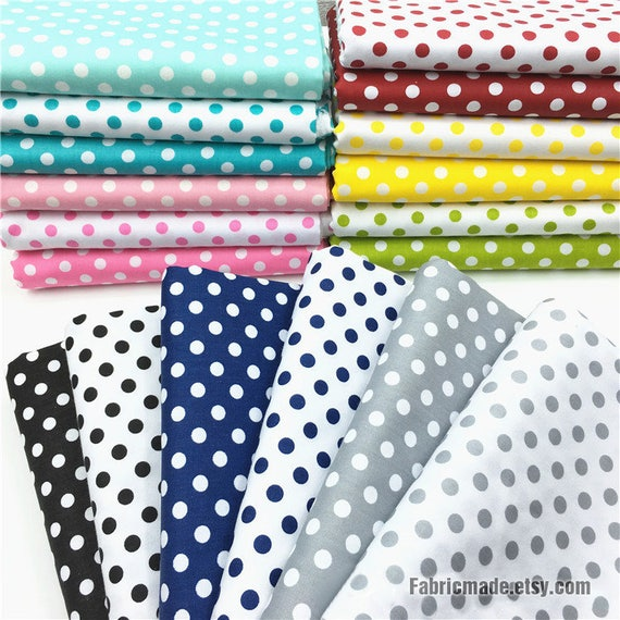 18 colors polka dots cotton fabric green blue pink black grey etsy. Black Bedroom Furniture Sets. Home Design Ideas