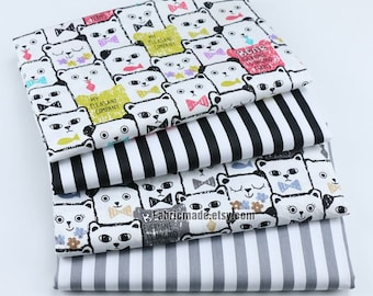 100% Cotton Fabric- CUTE Pink Blue Grey Cats Stripes Coordinating Fabric- 1/2 yard