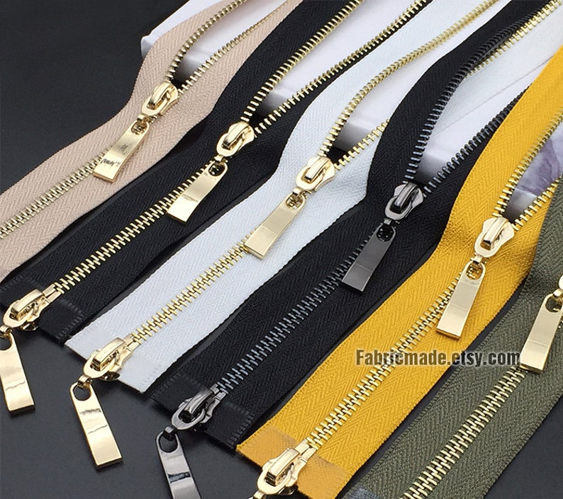 Metal Teeth Zipper YKK Number 5 Separating 4 inch to 24 Inch Uniquely Made Multi Colors YKK Brass Jacket Zippers Options Length, Color