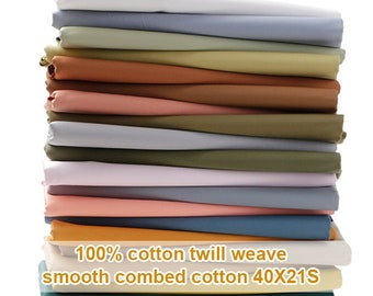 26 Colors Twill Weave Cotton Fabric Fine Smooth Solid Cotton For Coat Pants - 1/2 yard