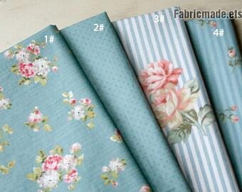 Grey Blue Cotton Fabric, Pink Roses Bud Polka Dots Stripes Camellia Flower Fabric  - 1/2 yard