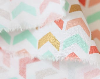Gilding Colors Triangles On White Cotton, Geometric Cotton Fabric-  1/2 yard